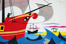 vintage I Spy book showing illustration of a pirate ship | H is for Home