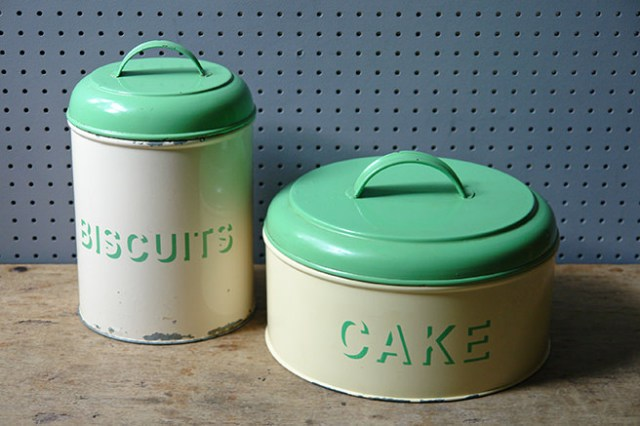 'biscuits' and 'cake' cream & green kitchen storage tins | H is for Home