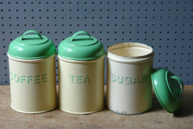 'tea' 'coffee' and 'sugar' cream & green kitchen storage tins | H is for Home