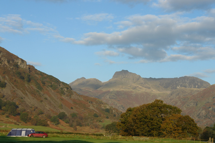 a single tent pitched in Baysbrown Farm, Chapel Style, Little Langdale, Lake District, Cumbria