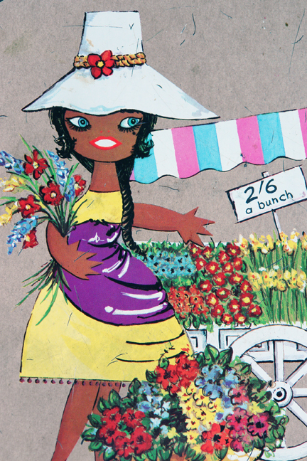 detail from a vintage biscuit tin with illustration by Lefor-Openo of a flower seller girl with her market stall