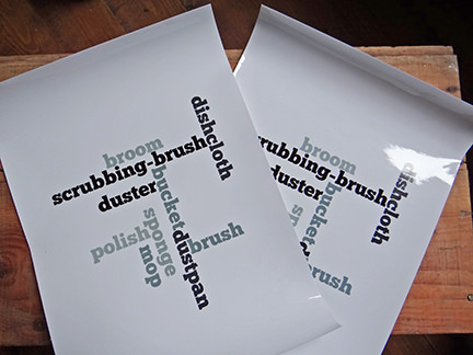 2 cleaning word clouds printed on to clear vinly labels