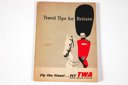 "vintage TWA ""Travel tips for Britain"" booklet with illustration of Coldstream Guard"