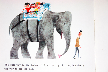 "illustration of an elephant taken from vintage ""This is London"" book by Miroslav Sasek"