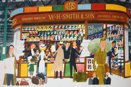 "illustration of Smiths the newsagents from vintage ""This is London"" book by Miroslav Sasek"
