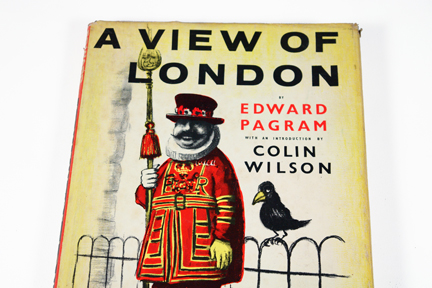 "detail of cover of vintage book entitled ""A View of London"" by Edward Pagram showing a Beefeater and a raven"