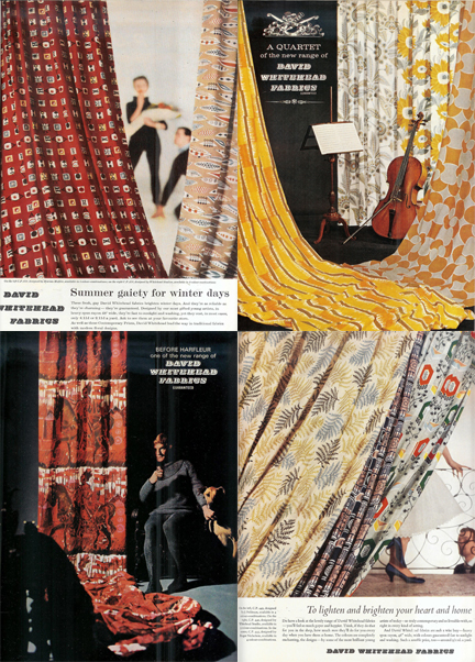 four vintage magazine adverts for Davis Whitehead fabrics