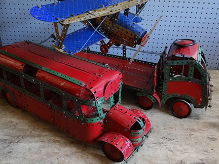 Meccano bus, lorry and aeroplane