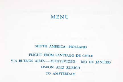 flight plan on 1950s/60s KLM trans-Atlantic menu