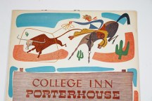 detail of 1950s Porterhouse menu