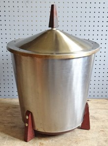 coal bucket from a stainless steel & teak mid century companion set