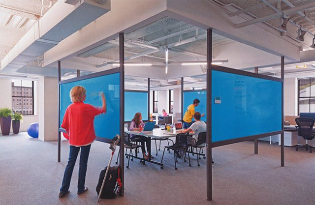 Colourful office partitions