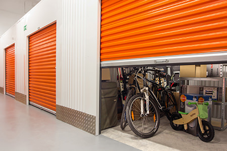 self storage units with orange doors