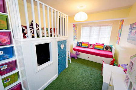 artificial grass flooring in young person's bedroom