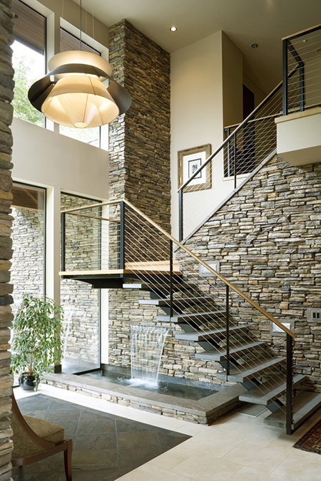 indoor water feature in a stone wall