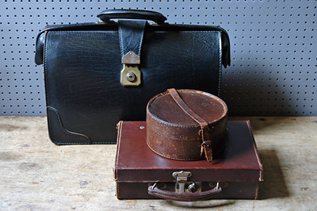 vintage leather luggage items | H is for Home
