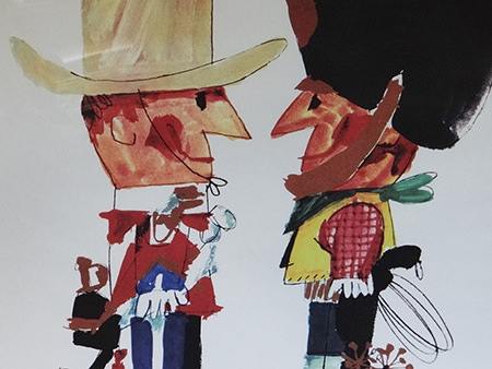 Detailed view of a vintage Neiman Marcus poster celebrating Danish Fortnight