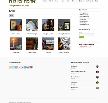 Newly designed H is for Home website shop page screenshot