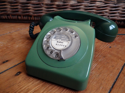 selection of recently acquired vintage homewares including a green dial telephone