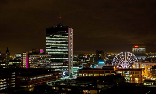 Arial view of Manchester at night