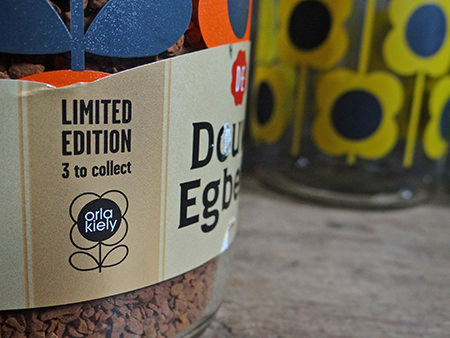 detail of a Douwe Egberts coffee jar label showing Orla Kiely logo
