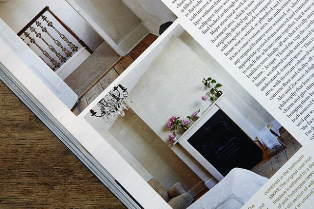 Views of a bedroom fireplace and hallway balustrade from the 'Less is More' article in the May 2016 edition of Country Living magazine