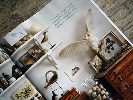corner of Tony Ladd's studio workspace featured in the April 2014 Homes & Antiques magazine