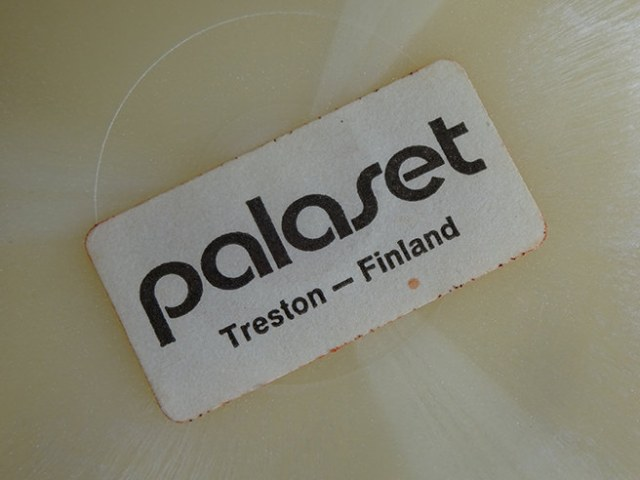 Lable on the bottom of a vintage Papaset Treston storage box | H is for Home