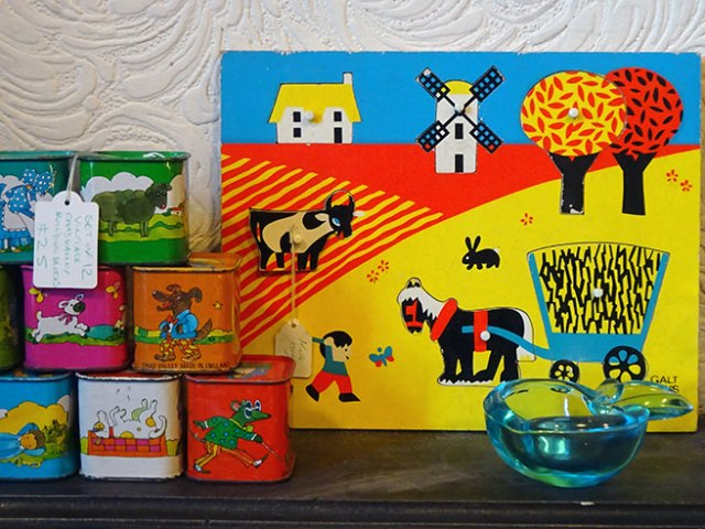 Shelf of vintage toys | H is for Home