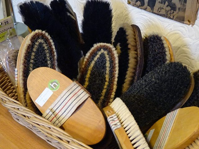 New old stock - various vintage cleaning brushes in a wicker basket | H is for Home