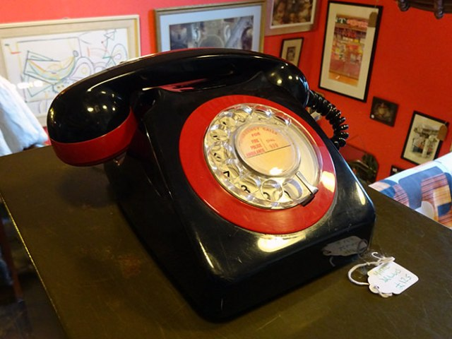 Vintage black & red GPO telephone | H is for Home