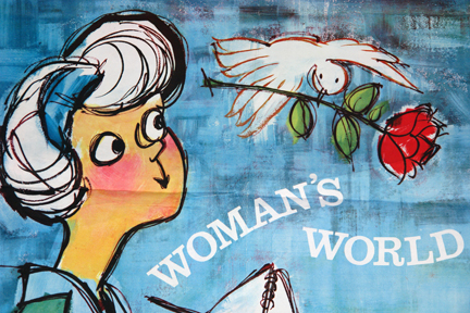 detail of vintage Sunday Express news stand poster advertising staff writer & illustrator, Veronica Papworth