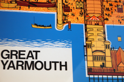 detail of original vintage 'Great Yarmouth' travel poster