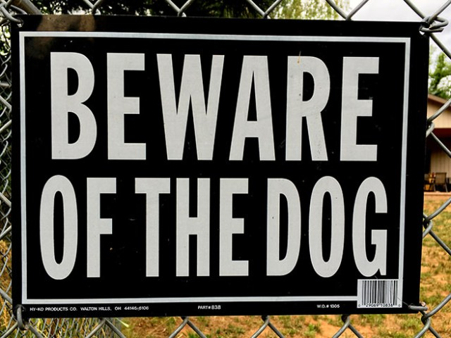 Beware of the dog sign on a fence