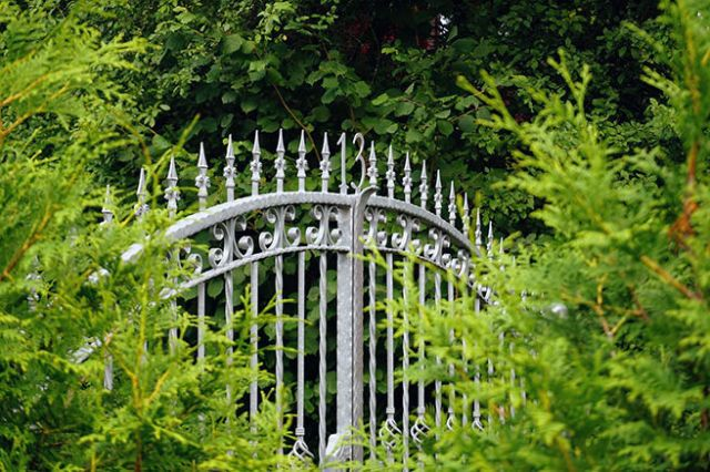 Metal wrought iron gates