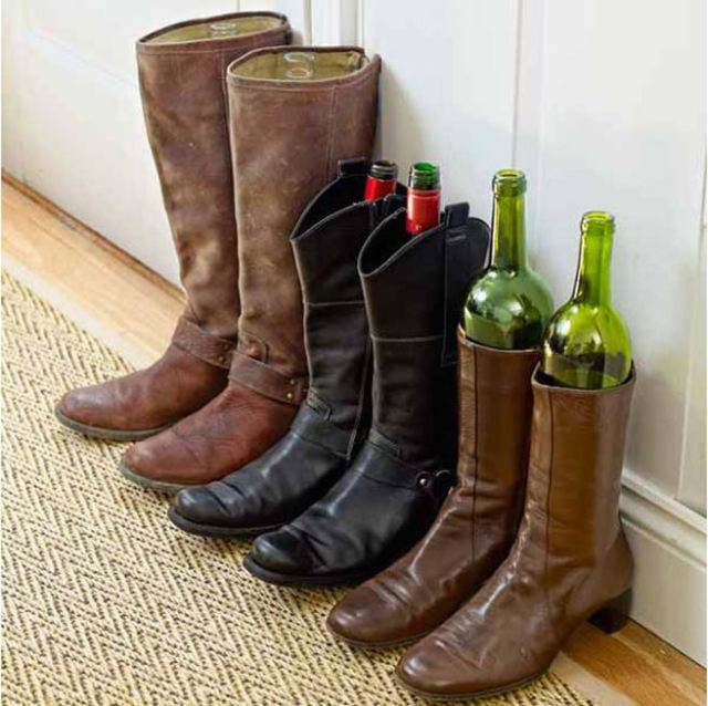 Wine bottles keeping boots upright