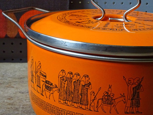 Detail view of a vintage orange Siltal saucepan | H is for Home