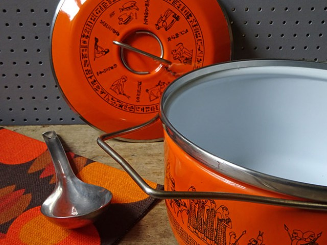 Vintage orange Siltal saucepan with lid removed | H is for Home