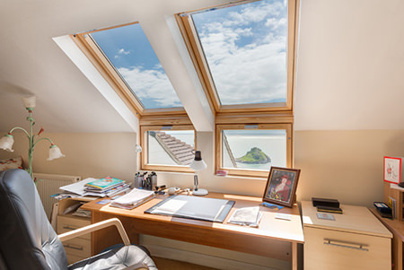 Attic office with Velux windows