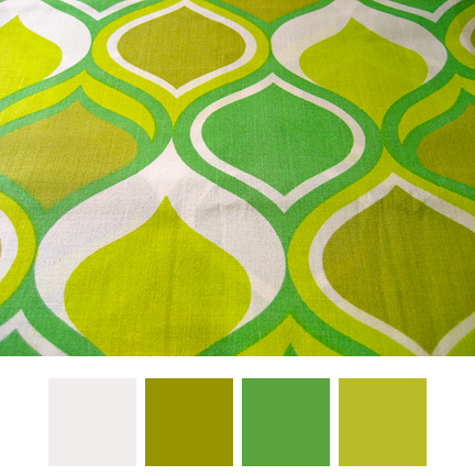 vintage fabric with op art pattern in H is for Home greens
