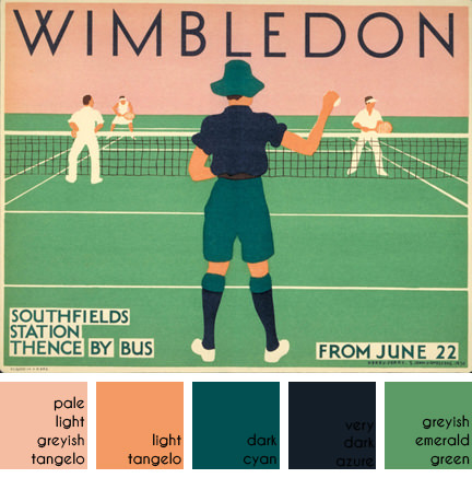 Wintage Wimbledon travel poster designed by Herry Perry for Underground Electric Railways Company Ltd in 1931