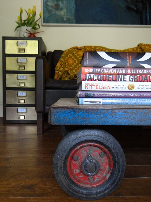 Vintage industrial trolley being used as a coffee table with contemporary metal drawers | H is for Home