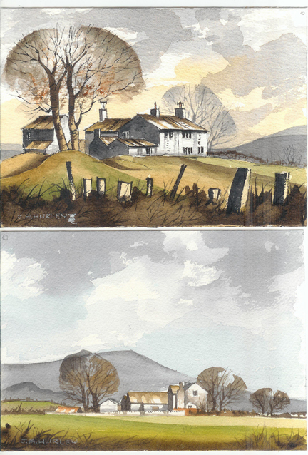 """pair of small watercolours depicting """"Knowl Top Farm near Pots & Pans, Saddleworth"""" (top) and """"Farm, Clitheroe - Mitton Road - Longridge Fell in background"""" (below)"""