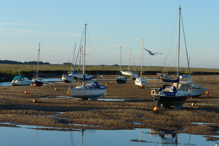 boats in the harbour at low tide, Wells-next-the-Sea