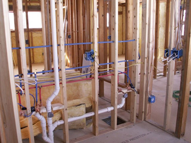Installing plumbing in a house
