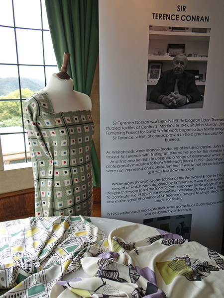 Display including samples of Sir Terence Conran's original fabric designs for David Whitehead