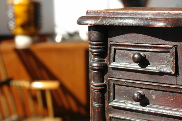 Detail of an antique miniature chest of drawers for sale in our new shop space | H is for Home