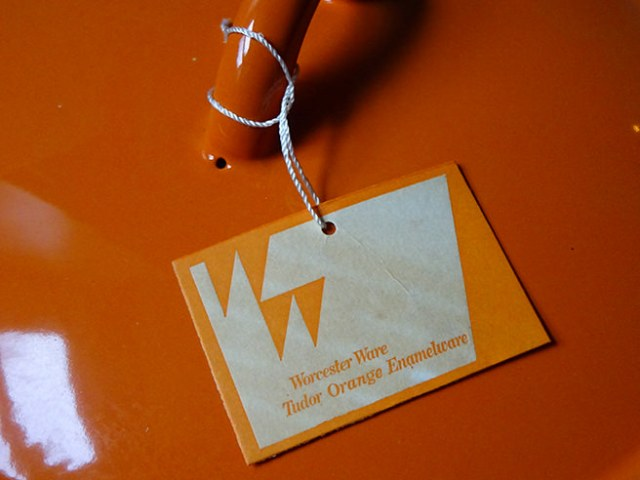 Original tag from a vintage Worcester Ware Tudor Orange lidded casserole pan (boxed, new old stock) | H is for Home
