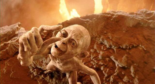 Gollum holding the ring from Lord of the Rings