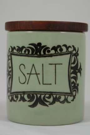 Vintage pottery lidded salt pot | H is for Home